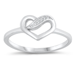Silver CZ Ring - Heart - $3.74