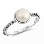Silver Ring W/ CZ - Mother of Pearl - $5.99