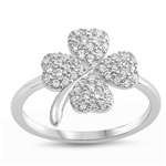 Silver Ring W/ CZ - Clover - $8.12