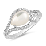 Silver Ring W/ CZ - Mother of Pearl - $9.94