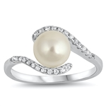 Silver Ring W/ CZ - Mother of Pearl - $5.32