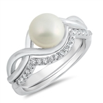 Silver CZ Ring - Freshwater Pearl - $9.88
