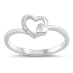 Silver CZ Ring - Heart - $4.03