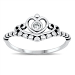 Silver CZ Ring - Crown - $3.62