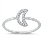 Silver CZ Ring - Open Moon - $3.86