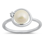 Silver CZ Ring - Freshwater Pearl - $5.18