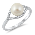 Silver CZ Ring - Freshwater Pearl - $5.59