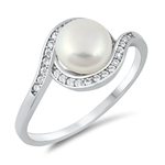 Silver CZ Ring - Freshwater Pearl - $6.05