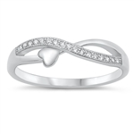 Silver CZ Ring - Braid and Heart