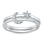Silver CZ Ring - Moon and Twinkle Star - $6.51