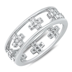 Silver CZ Ring - Crosses - $8.00