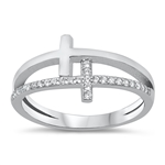 Silver CZ Ring - Double Cross - $5.68
