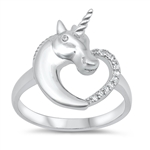 Silver CZ Ring - Unicorn Heart - $7.71