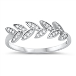 Silver CZ Ring - Leaves - $4.48