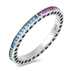 Silver CZ Ring - Multi-Colored Band - $6.62