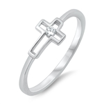 Silver CZ Ring - Open Cross - $3.26