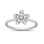 Silver CZ Ring - Flower - $3.99