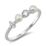 Silver CZ Ring - Pearl - $3.80