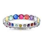 Silver CZ Ring - Multi-Colored Band - $9.54
