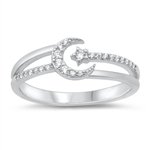 Silver CZ Ring - Moon and Star - $6.67