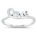 Silver CZ Ring - Love - $3.85