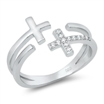 Silver CZ Ring - Crosses - $5.62