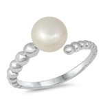 Silver CZ Ring - Pearl - $4.49