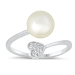 Silver CZ Ring - Pearl & Heart - $5.08