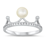 Silver CZ Ring - Pearl - $4.64