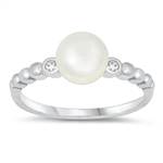 Silver CZ Ring - Pearl - $4.31