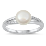 Silver CZ Ring - Pearl - $5.42