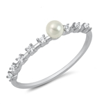 Silver CZ Ring - Pearl - $2.55