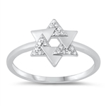 Silver CZ Ring - Star of David - $4.09