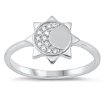 Silver CZ Ring - Moon and Sun - $4.14