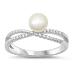Silver CZ Ring - Pearl - $5.21