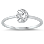 Silver CZ Ring - Moon and Star - $3.35