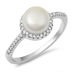 Silver CZ Ring - Pearl - $5.66