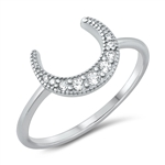 Silver CZ Ring - Crescent Moon - $3.69