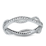 Silver CZ Ring - Braided Band - $5.26