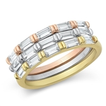 Silver CZ Ring - Tri-color Baguette Bands - $12.92