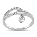 Silver CZ Ring - Dangling Teardrop - $6.24