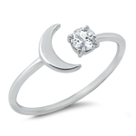 Silver CZ Ring - Moon and Twinkle Star - $3.02