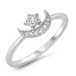 Silver CZ Ring - Moon & Star - $4.18