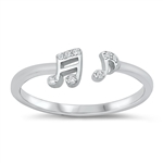 Silver CZ Ring - Music Notes - $4.39