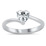 Silver CZ Ring - Heart Solitaire - $4.21