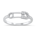 Silver CZ Ring - Paperclip - Start $4.89