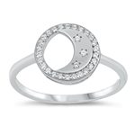Silver CZ Ring - Crescent Moon - $4.60