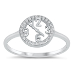 Silver CZ Ring - Clock - $5.38