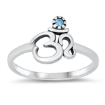 Silver CZ Ring - OM Sign - $3.07