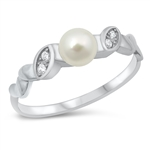Silver CZ Ring - Pearl - $6.51